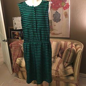 Ann Taylor Navy Green Stripe Dress XL NEW